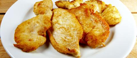 Natural chicken breast fried on a fiber plate normal dose